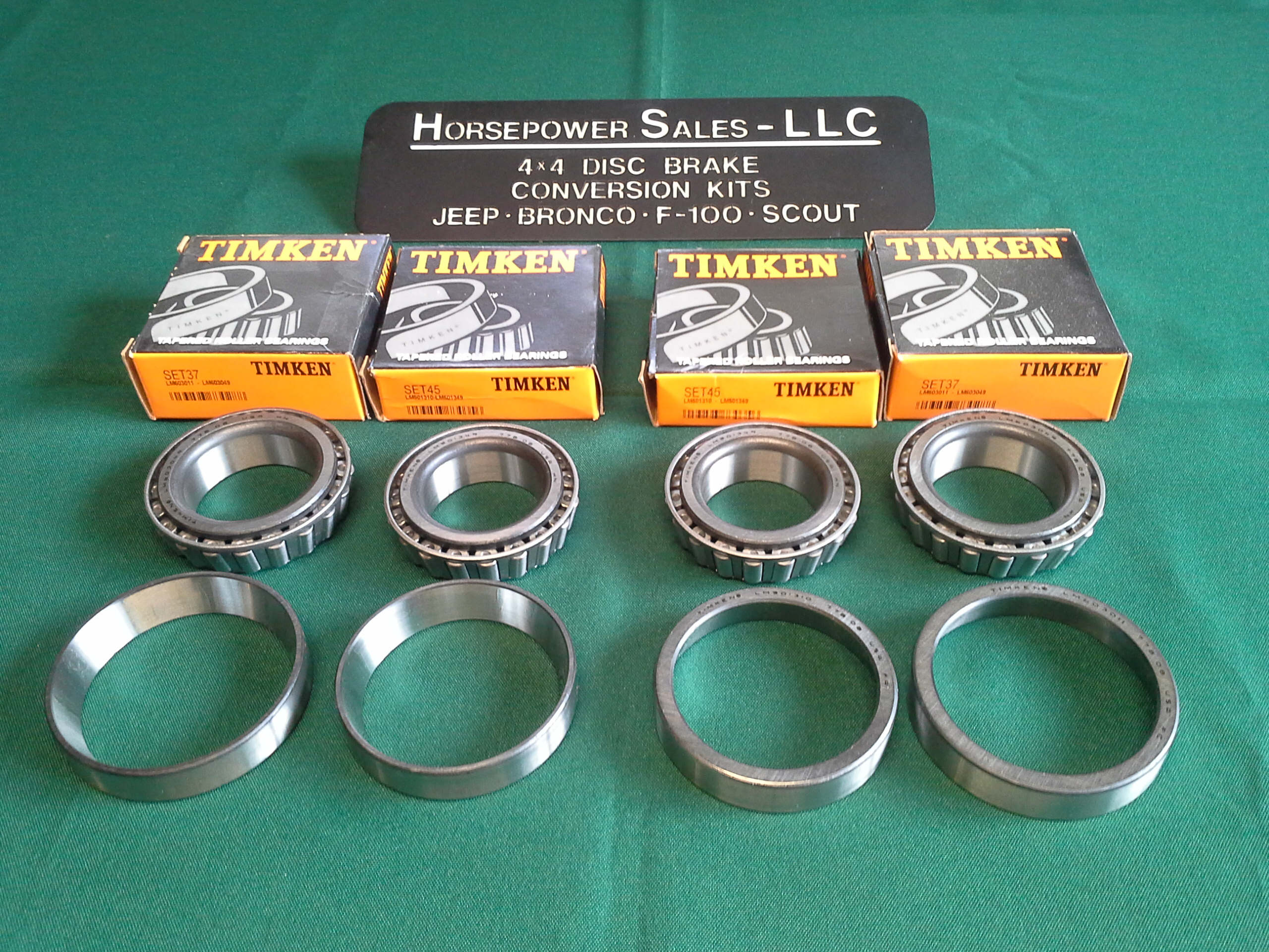 TIMKEN front WHEEL BEARING SET w/RACES for 4x4 Trucks: Ford, Chevy/GM/GMC,  Jeep, Dodge, also for early Bronco Disc Brake Conversions  Set 45 + Set 37